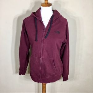 The North Face Maroon Hooded ZIP Up Jacket